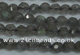CLB510 15.5 inches 4mm faceted round labradorite gemstone beads