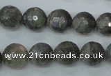 CLB515 15.5 inches 14mm faceted round labradorite gemstone beads