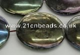 CLB643 15.5 inches 35mm flat round AB-color labradorite beads