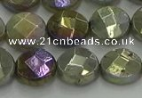 CLB678 15.5 inches 12mm faceted coin AB-color labradorite beads