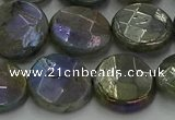 CLB679 15.5 inches 15mm faceted coin AB-color labradorite beads