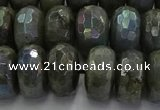 CLB761 15.5 inches 9*16mm faceted rondelle AB-color labradorite beads