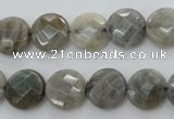 CLB88 15.5 inches 12mm faceted coin labradorite beads wholesale