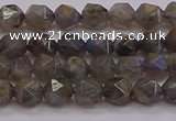 CLB971 15.5 inches 6mm faceted nuggets labradorite gemstone beads