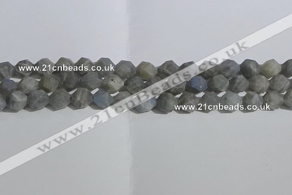 CLB998 15.5 inches 10mm faceted nuggets matte labradorite beads