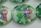 CLG798 15.5 inches 22*28mm oval lampwork glass beads wholesale