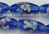 CLG874 15.5 inches 10*20mm rice lampwork glass beads wholesale