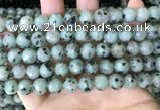 CLJ432 15.5 inches 10mm faceted round sesame jasper beads