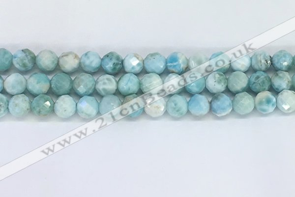 CLR120 15.5 inches 9mm faceted round larimar gemstone beads