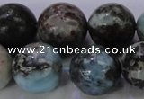 CLR65 15.5 inches 14mm round natural larimar gemstone beads