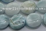 CLR85 15.5 inches 12mm flat round larimar gemstone beads