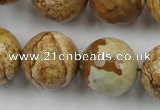 CLS151 15.5 inches 20mm faceted round picture jasper beads