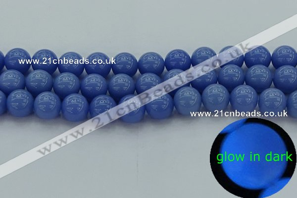 CLU115 15.5 inches 14mm round blue luminous stone beads