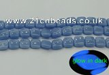 CLU152 15.5 inches 12*12mm square blue luminous stone beads