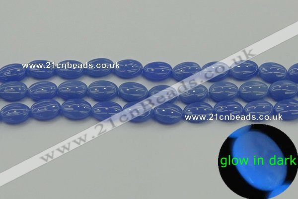 CLU181 15.5 inches 10*14mm oval blue luminous stone beads