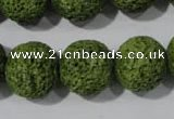 CLV465 15.5 inches 18mm round dyed green lava beads wholesale