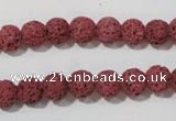 CLV468 15.5 inches 8mm round dyed red lava beads wholesale