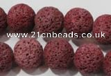 CLV472 15.5 inches 16mm round dyed red lava beads wholesale