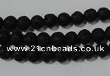 CLV483 15.5 inches 6mm round black lava beads wholesale
