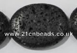 CLV509 15.5 inches 30*40mm oval black lava beads wholesale