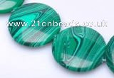 CMA08 15.5 inches 25mm coin imitate malachite beads wholesale