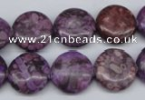CMB31 15.5 inches 16mm flat round dyed natural medical stone beads