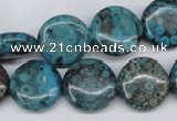 CMB42 15.5 inches 16mm flat round dyed natural medical stone beads