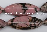 CME08 15.5 inches 15*40mm marquise rhodonite gemstone beads