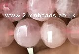 CME234 15.5 inches 10*11mm - 10*12mm pumpkin Madagascar rose quartz beads