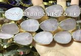 CME506 12 inches 18*28mm - 20*30mm flat teardrop rose quartz beads