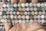 CMG379 15.5 inches 8mm faceted round morganite gemstone beads