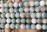 CMG382 15.5 inches 12mm faceted round morganite gemstone beads