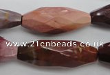CMK132 15.5 inches 14*35mm faceted rice mookaite beads wholesale