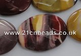 CMK158 15.5 inches 25*35mm faceted oval mookaite beads wholesale