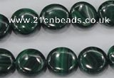 CMN101 15.5 inches 16mm flat round natural malachite beads wholesale