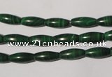 CMN211 15.5 inches 5*12mm rice natural malachite beads wholesale