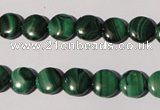 CMN251 15.5 inches 8mm flat round natural malachite beads wholesale
