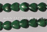 CMN257 15.5 inches 10*10mm heart natural malachite beads wholesale