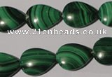 CMN283 15.5 inches 12*16mm flat teardrop natural malachite beads
