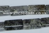 CMO18 15.5 inches 12*20mm flat tube moss quartz beads wholesale
