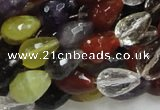 CMQ21 15.5 inches 10*14mm faceted teardrop multicolor quartz beads