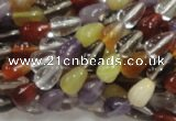 CMQ22 15.5 inches 6*10mm teardrop multicolor quartz beads