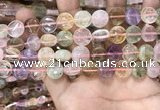 CMQ501 15.5 inches 12mm flat round colorfull quartz beads wholesale