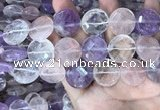 CMQ527 15.5 inches 20mm faceted coin colorfull quartz beads