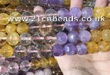 CMQ547 15.5 inches 14mm faceted round colorfull quartz beads