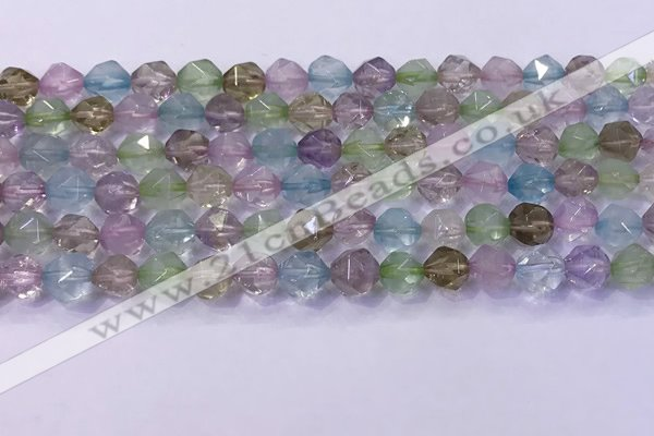 CMQ576 15.5 inches 8mm faceted round mixed quartz beads