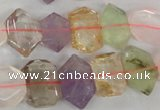 CMQ93 15.5 inches 12*14mm faceted nuggets multicolor quartz beads