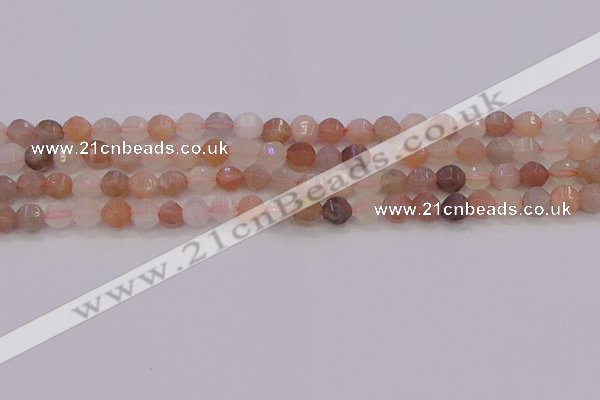 CMS1166 15.5 inches 6mm faceted round rainbow moonstone beads