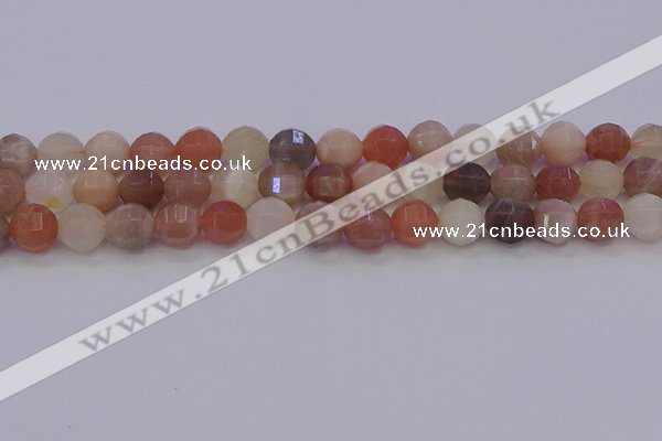 CMS1168 15.5 inches 10mm faceted round rainbow moonstone beads