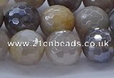 CMS1314 15.5 inches 12mm faceted round AB-color grey moonstone beads